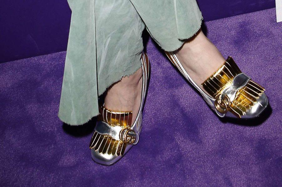 Les chaussures de Charlotte Casiraghi au défilé Gucci à la Fashion Week à Milan, le 22 février 2017