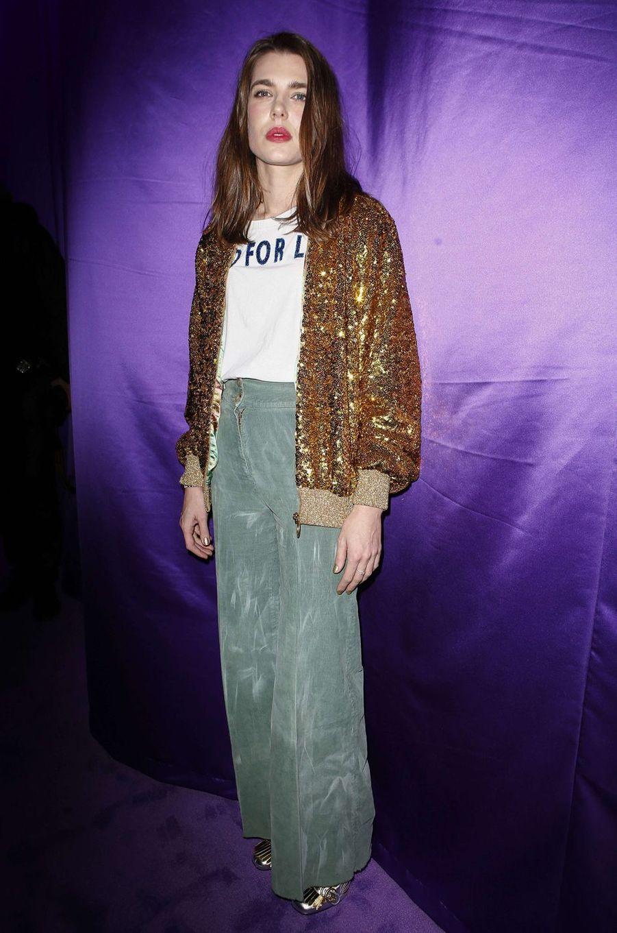 Charlotte Casiraghi au défilé Gucci à la Fashion Week à Milan, le 22 février 2017