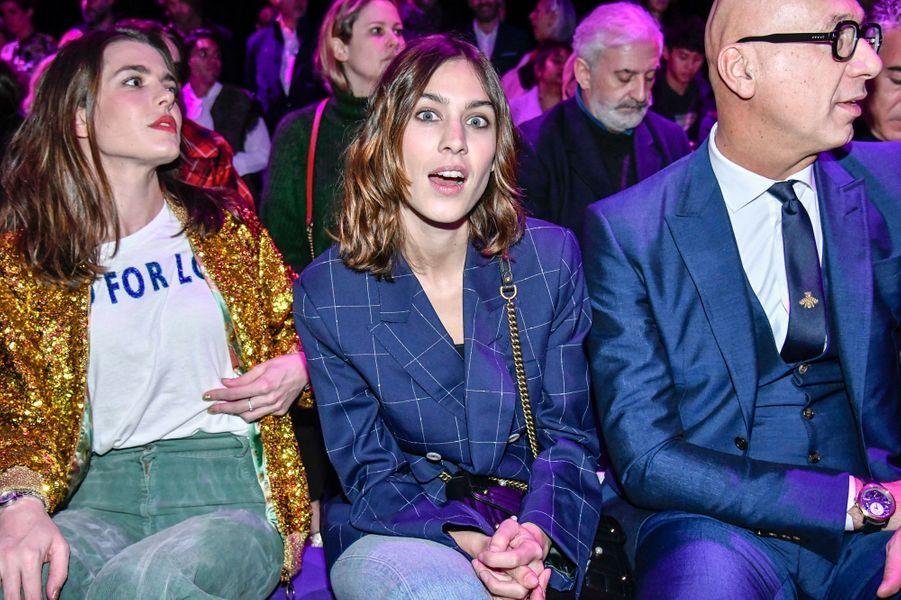 Charlotte Casiraghi avec Alexa Chung au défilé Gucci à la Fashion Week à Milan, le 22 février 2017
