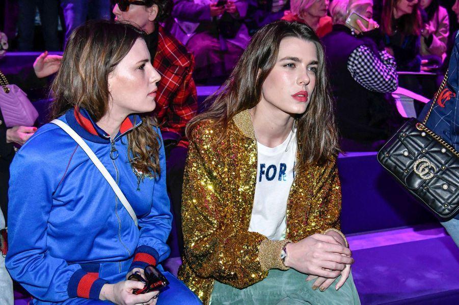 Charlotte Casiraghi avec Juliette Maillot au défilé Gucci à la Fashion Week à Milan, le 22 février 2017