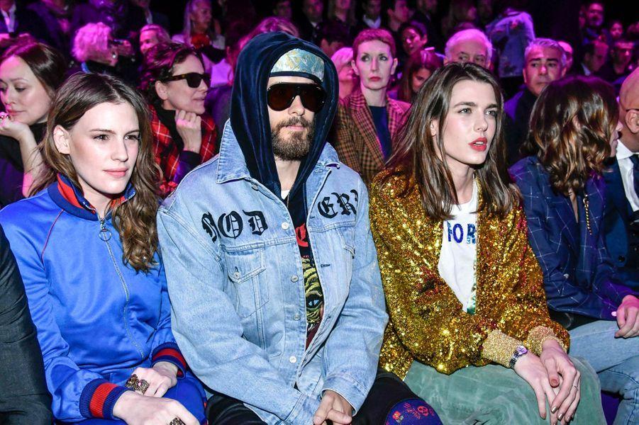 Charlotte Casiraghi avec Jared Leto et Juliette Maillot au défilé Gucci à la Fashion Week à Milan, le 22 février 2017