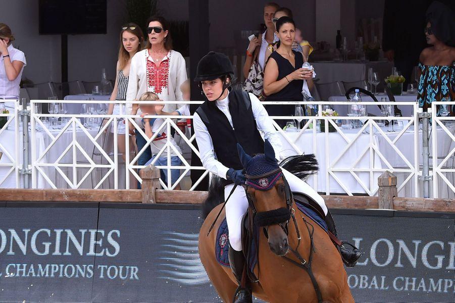 Charlotte Casiraghi et les princesses Caroline et Alexandra de Hanovre à Monaco, le 23 juin 2017