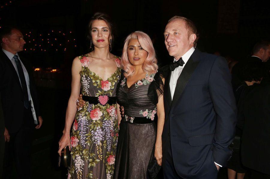 Charlotte Casiraghi avec Salma Hayek et son mari François-Henri Pinault à Cannes, le 21 mai 2017