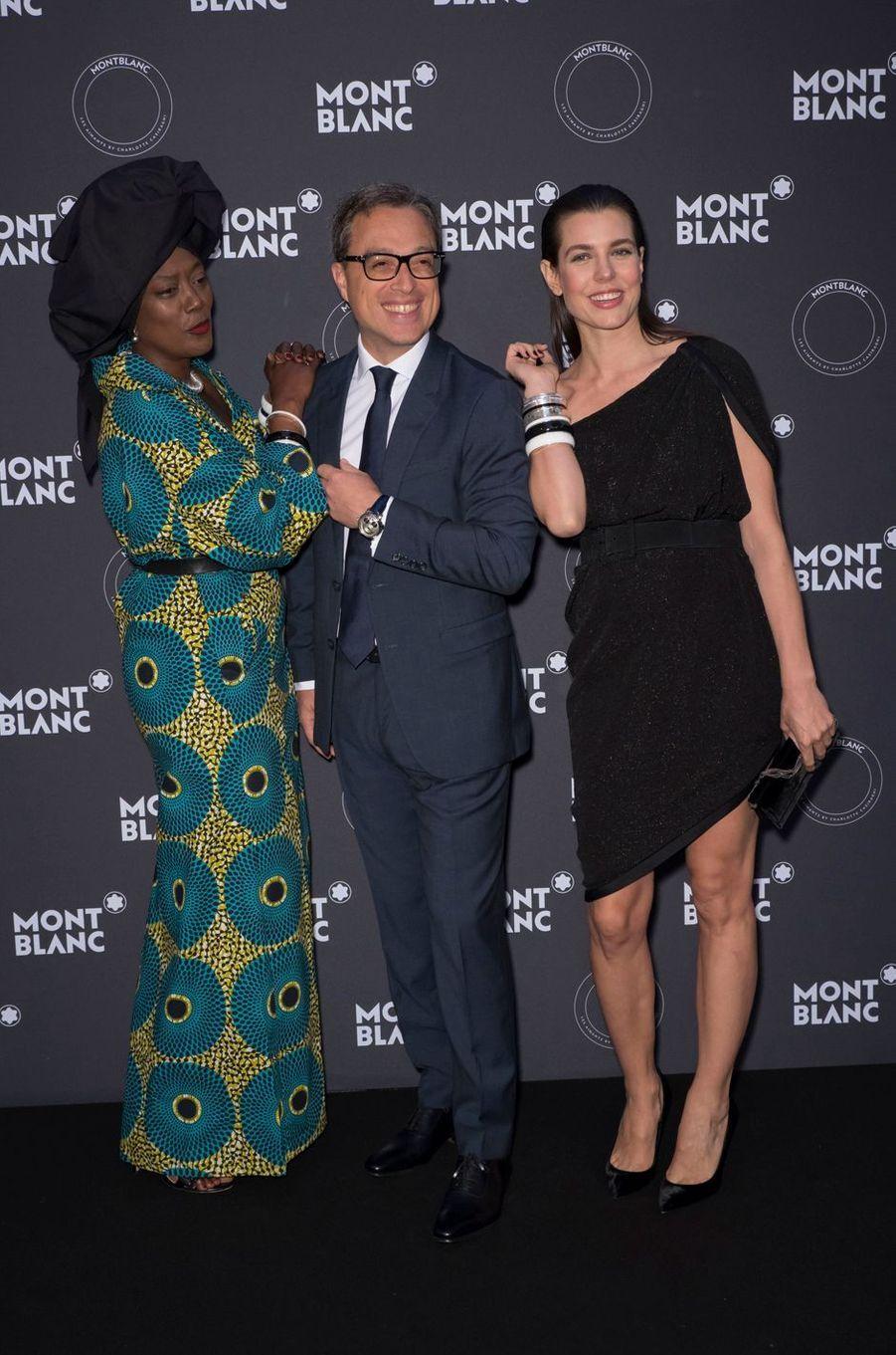 Charlotte Casiraghi avec Khadja Nin et Nicolas Baretzki, PDG de Montblanc, à Cannes le 16 mai 2018