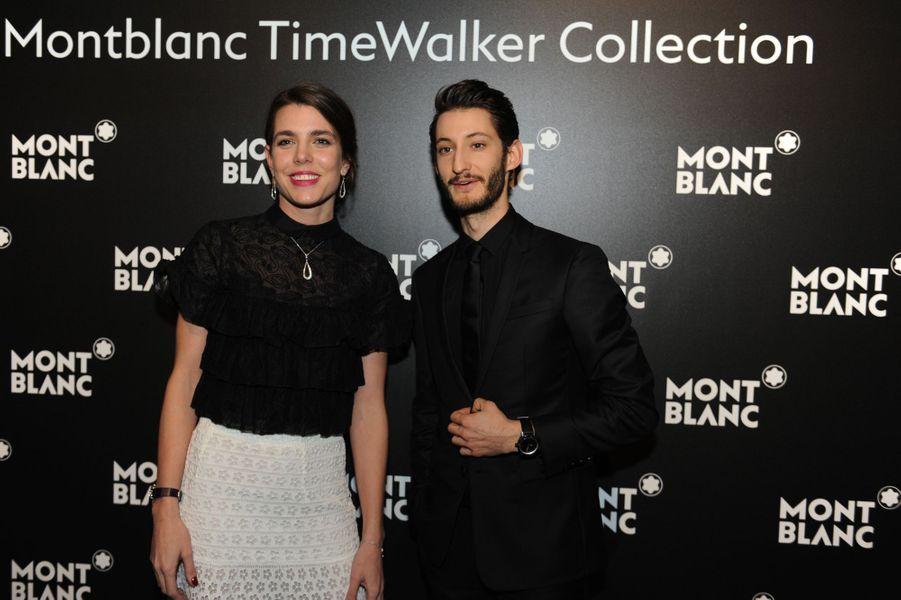 Charlotte Casiraghi et Pierre Niney, ambassadeurs de la marque Montblanc à Genève, le 16 janvier 2017