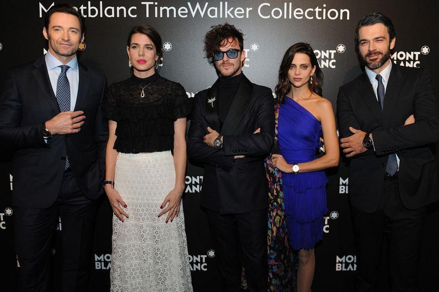 Charlotte Casiraghi avec Hugh Jackman et Macarena Gómez à Genève, le 16 janvier 2017