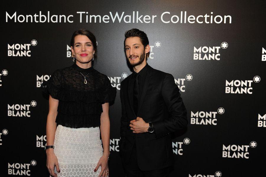 Charlotte Casiraghi et Pierre Niney, ambassadeurs Montblanc à Genève, le 16 janvier 2017