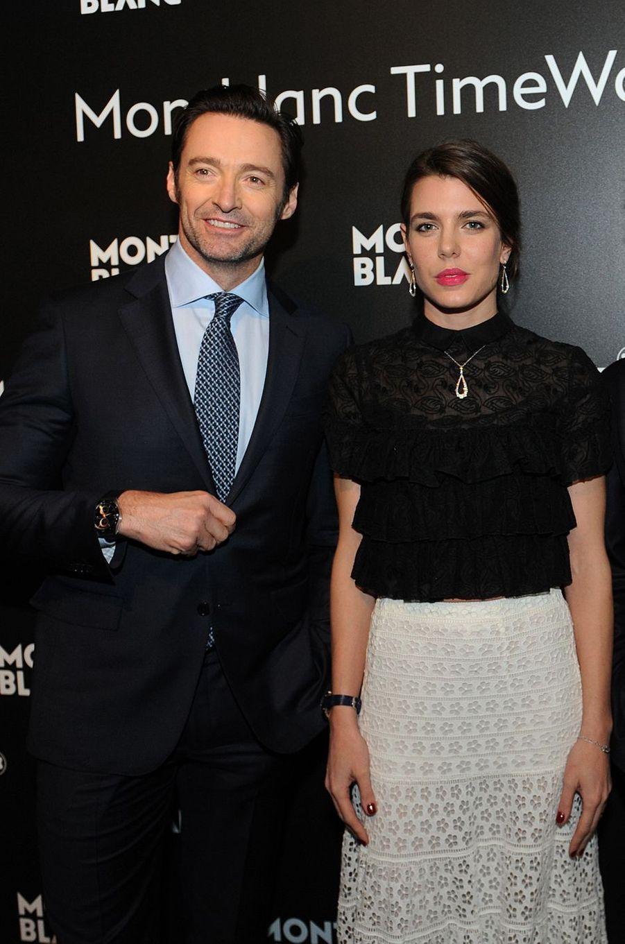 Charlotte Casiraghi avec Hugh Jackman à Genève, le 16 janvier 2017