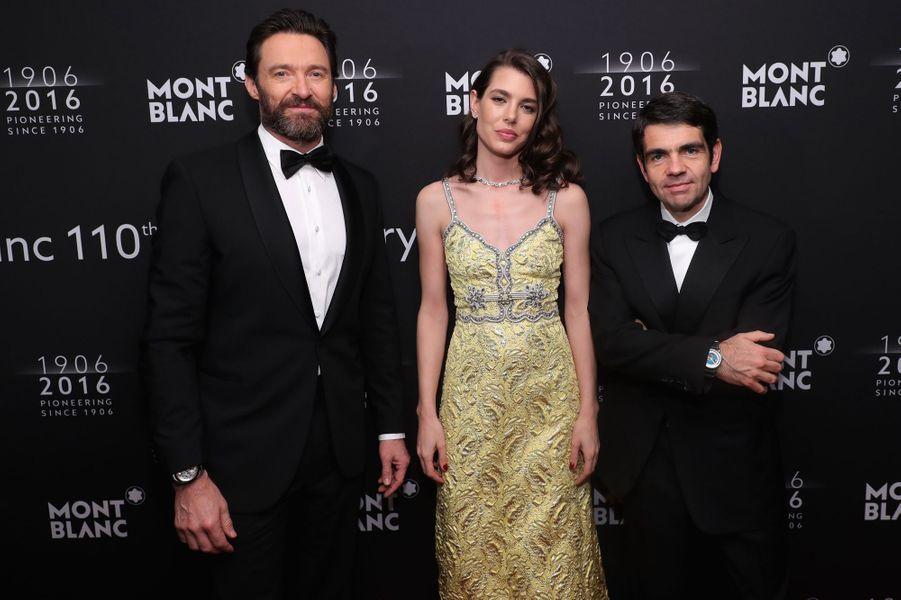 Charlotte Casiraghi avec Hugh Jackman et Jérôme Lambert au dîner de gala Montblanc à New York, le 5 avril 2016