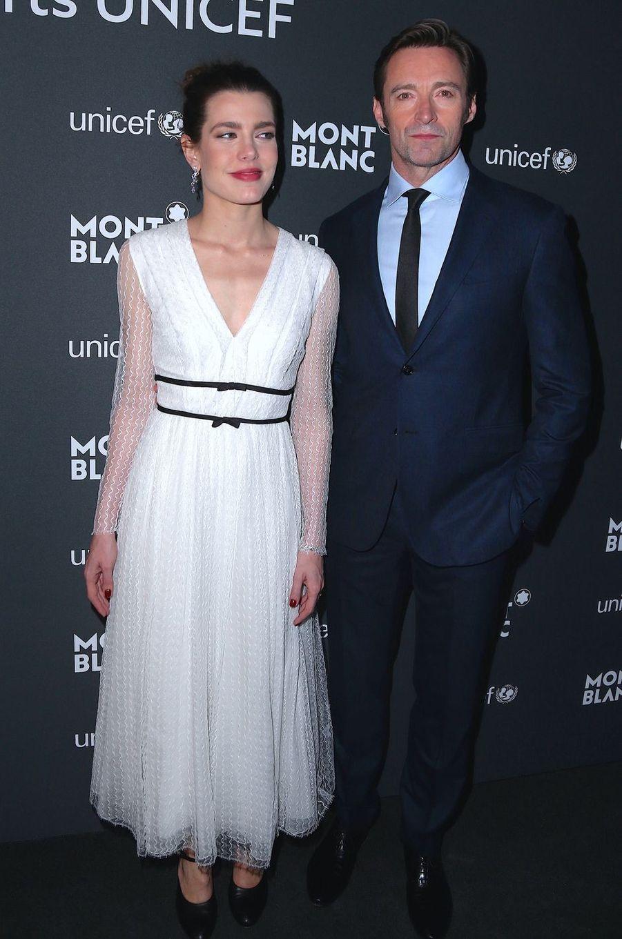Charlotte Casiraghi avec Hugh Jackman à New York, le 3 avril 2017