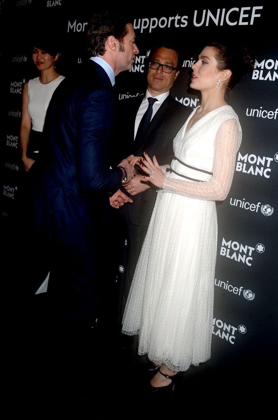Charlotte Casiraghi avec Nicolas Baretzki et Hugh Jackman à New York, le 3 avril 2017