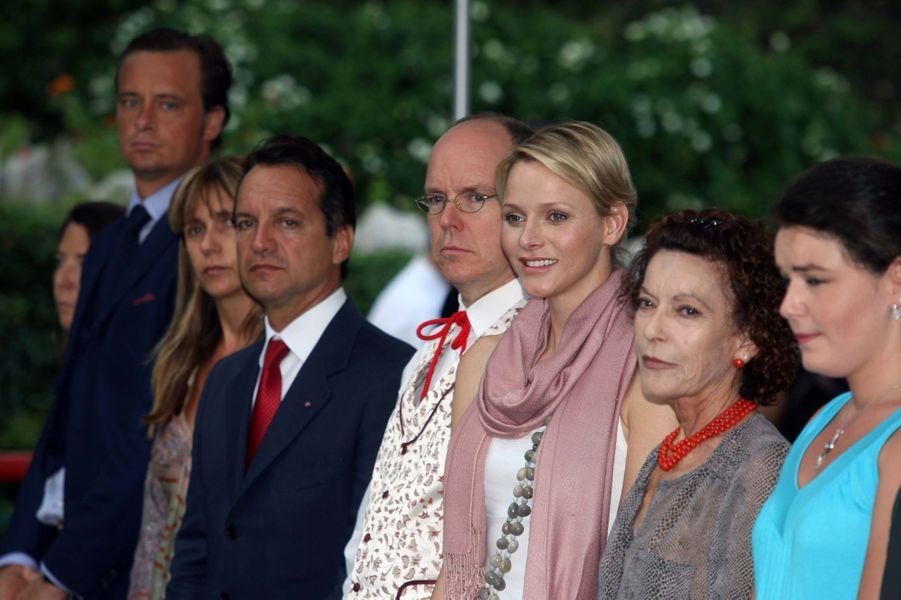 Elizabeth-Ann de Massy avec sa fille Mélanie-Antoinette, la princesse Charlène et le prince Albert II de Monaco, le 7 septembre 2012