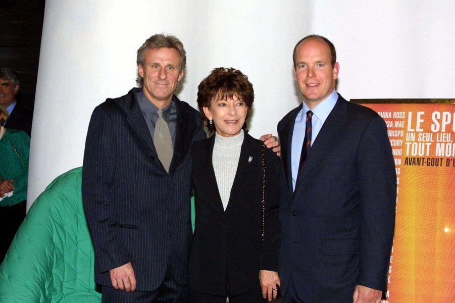 Elizabeth-Ann de Massy avec son cousin le prince Albert de Monaco et Bjorn Borg, le 17 avril 2001