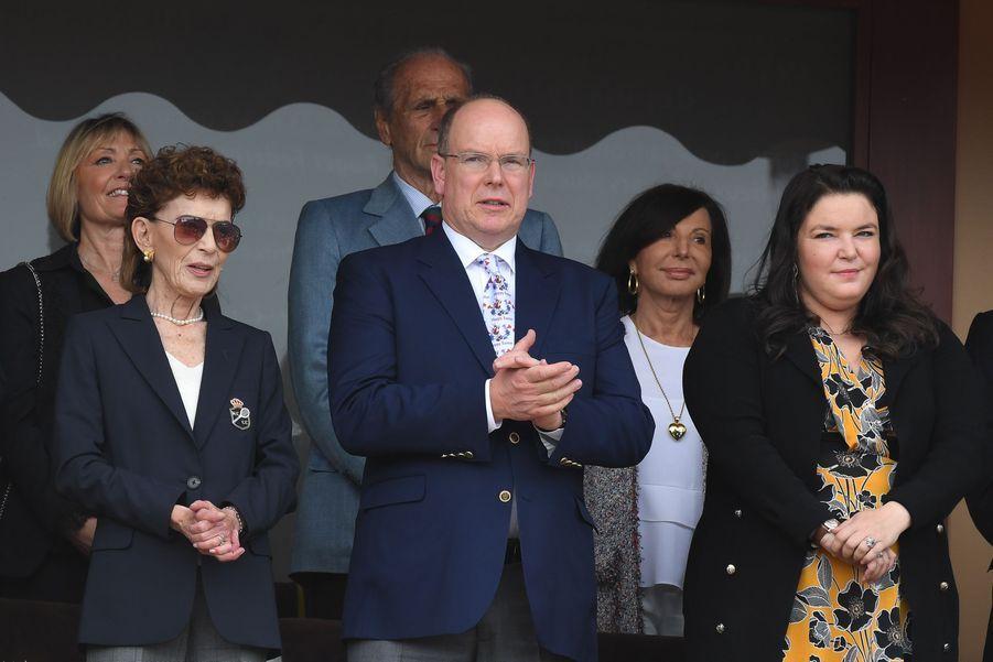 Elizabeth-Ann de Massy avec sa fille Mélanie-Antoinette et son cousin le prince Albert II de Monaco, le 21 avril 2019