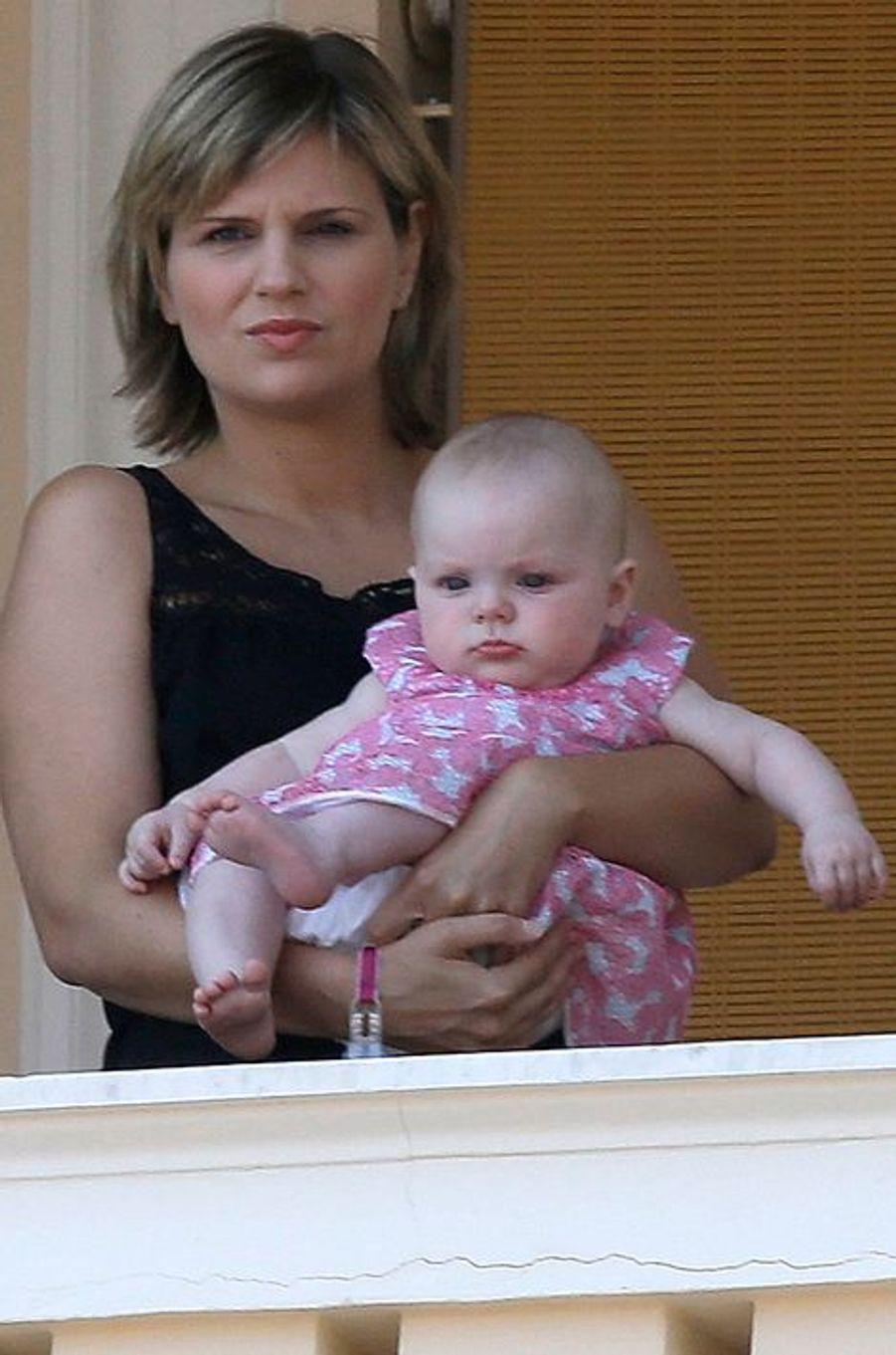 La princesse Gabriella au balcon du Palais princier de Monaco, le 11 juillet 2015