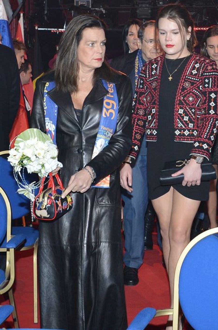 La princesse Stéphanie de Monaco le 16 janvier 2015, avec sa fille Camille Gottlieb