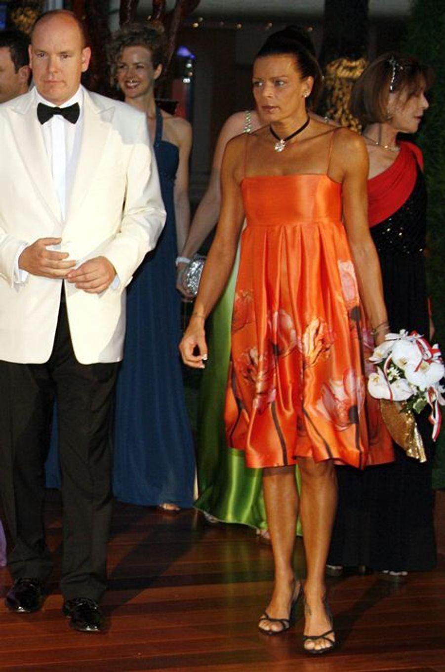 La princesse Stéphanie de Monaco le 1er août 2008, avec le prince Albert