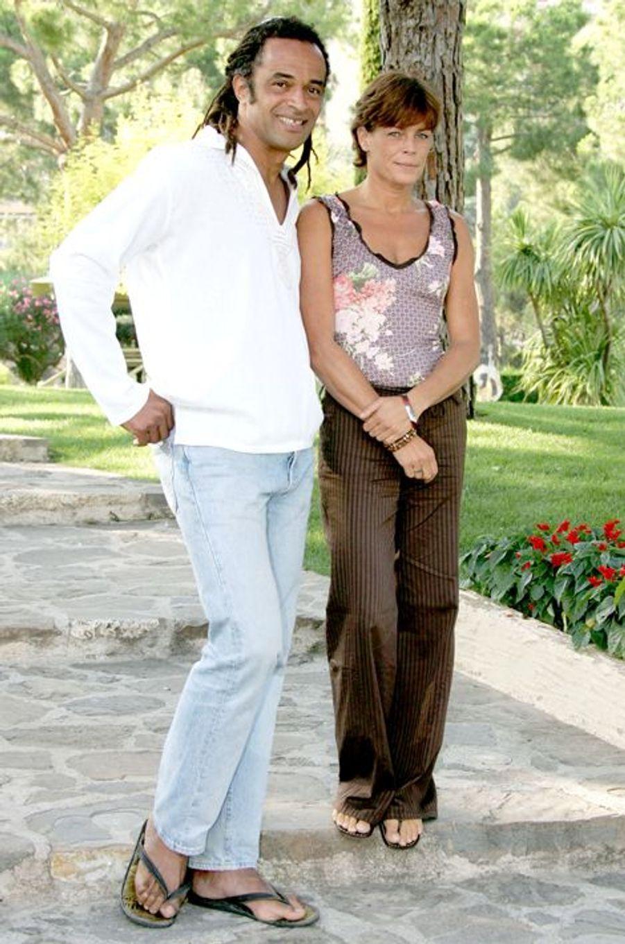 La princesse Stéphanie de Monaco le 24 juillet 2005, avec Yannick Noah