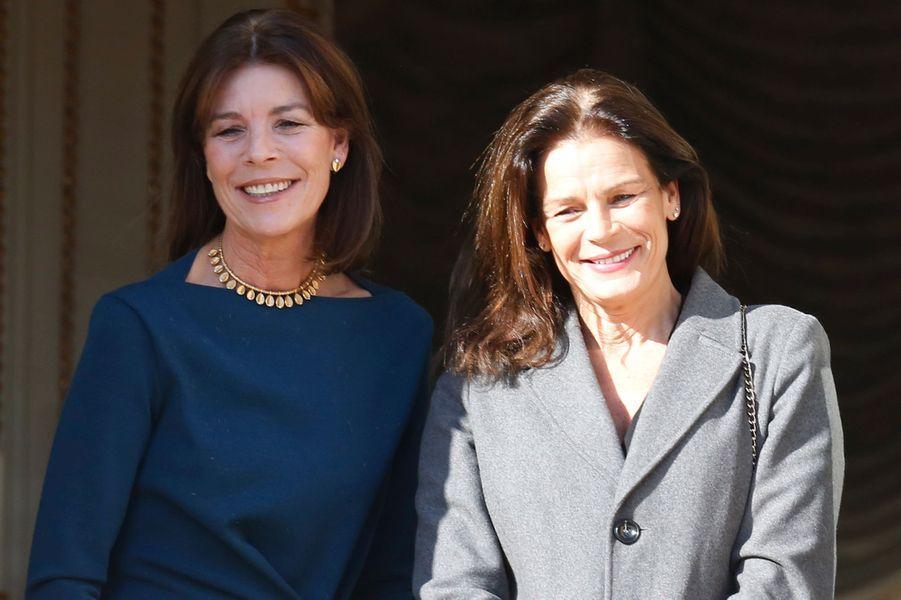 La princesse Stéphanie de Monaco le 7 janvier 2015, avec la princesse Caroline