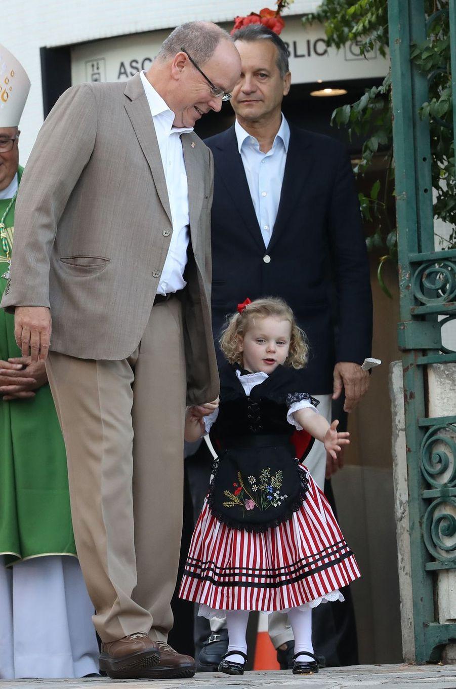 La princesse Gabriella avec le prince Albert II de Monaco, à Monaco le 31 août 2018