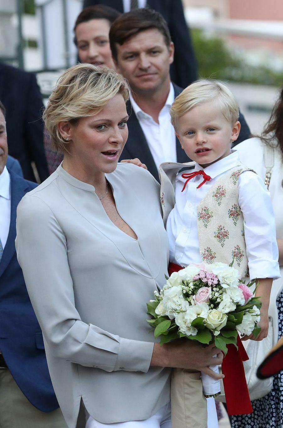 Le prince Jacques avec la princesse Charlène de Monaco, à Monaco le 31 août 2018
