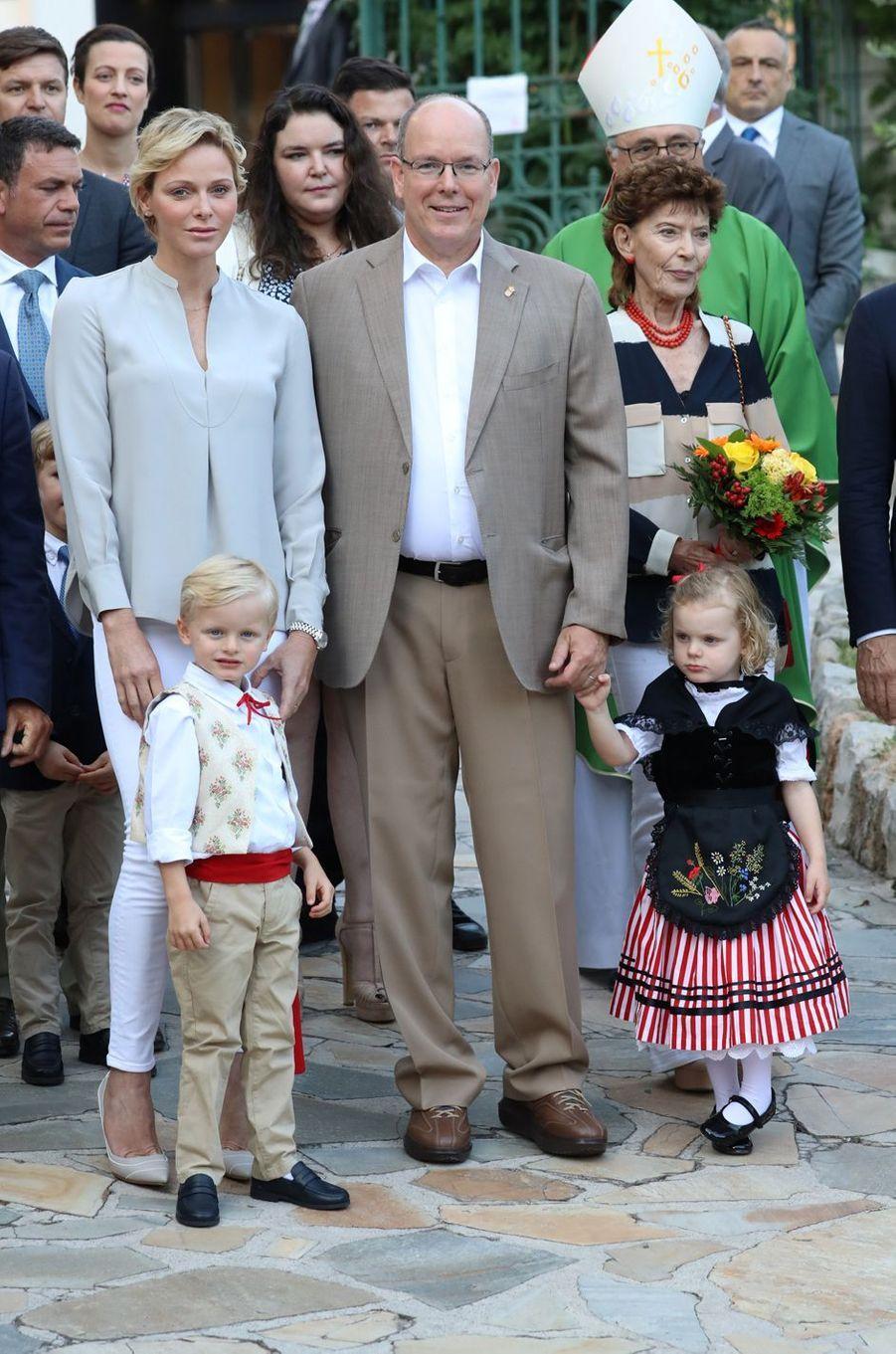 La princesse Charlène et le prince Albert II de Monaco avec leurs jumeaux, à Monaco le 31 août 2018