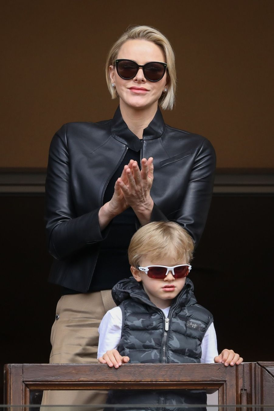 Le prince Albert II et la princesse Charlène de Monaco avec leurs enfants le prince Jacques de Monaco et la princesse Gabriella de Monaco lors de la 9ème édition du Tournoi Sainte Dévote de Rugby au Stade Louis II à Monaco, le 11 mai 2019.