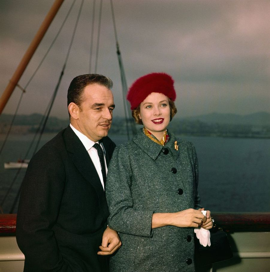 La princesse Grace et le prince Rainier III de Monaco, le 17 novembre 1956