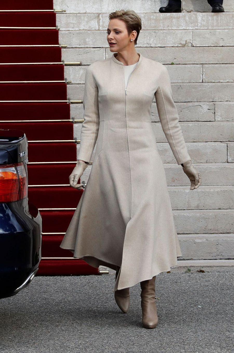 La princesse Charlène de Monaco à Monaco le 27 janvier 2017