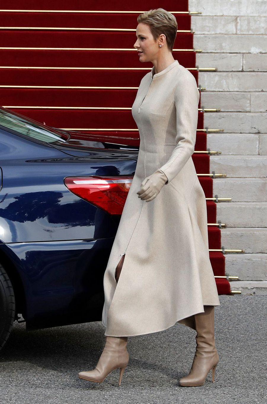 La princesse Charlène de Monaco à Monaco, le 27 janvier 2017