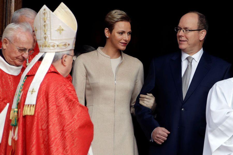 La princesse Charlène et le prince Albert II de Monaco à Monaco, le 27 janvier 2017