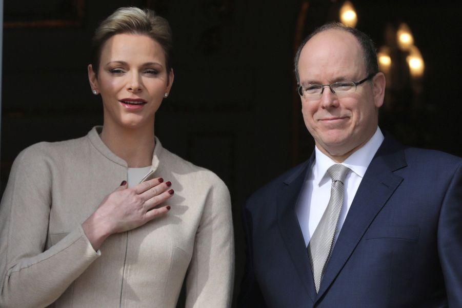 La princesse Charlène et le prince Albert II de Monaco à Monaco le 27 janvier 2017