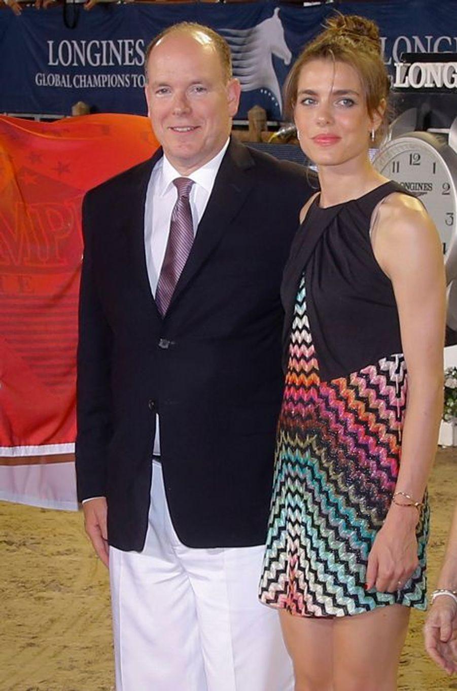 Charlotte Casiraghi avec le prince Albert II de Monaco au Jumping de Monaco, le 27 juin 2015