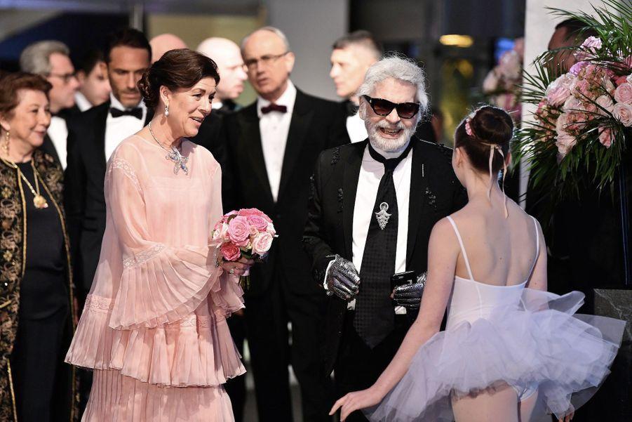 S.A.R la Princesse de Hanovre et Karl Lagerfeld au bal de la rose 2018, le 24 mars 2018.