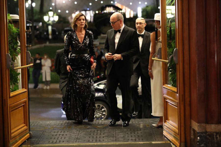 La princesse Caroline de Hanovre et le prince Albert II de Monaco au casino de Monte-Carlo à Monaco, le 19 octobre 2018