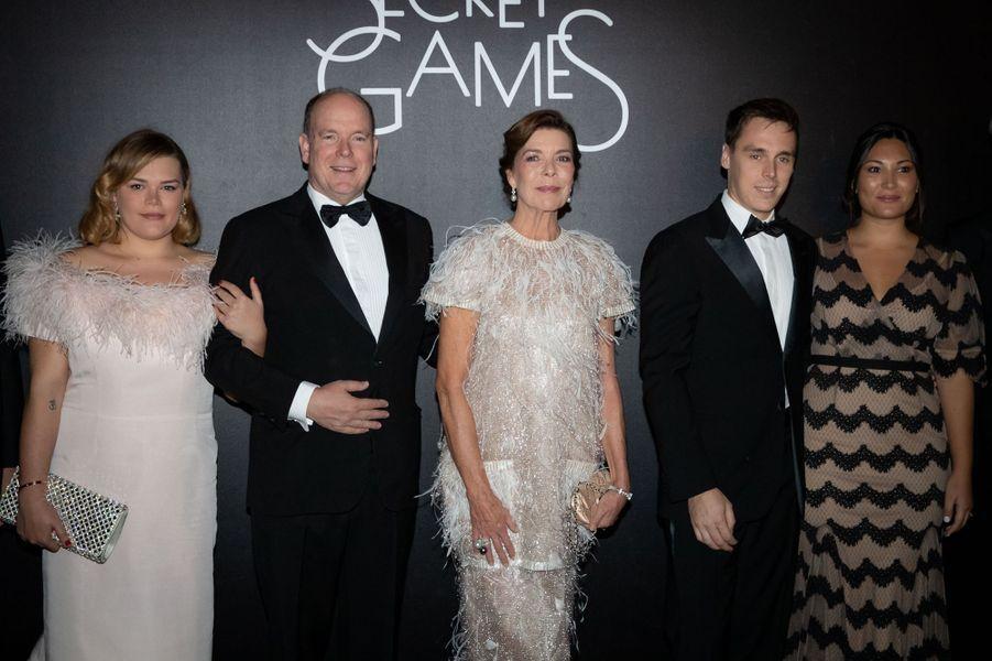 La princesse Caroline de Hanovre avec le prince Albert II de Monaco, Camille Gottlieb et Louis et Marie Ducruet à Monaco, le 5 octobre 2019