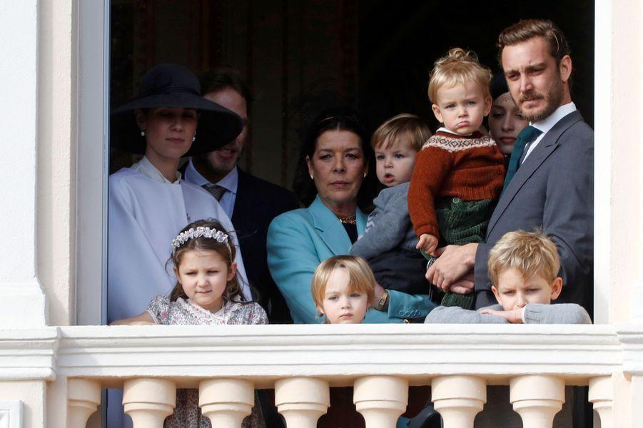 La princesse Caroline de Hanovre avec cinq de ses petits-enfants à Monaco, le 19 novembre 2019