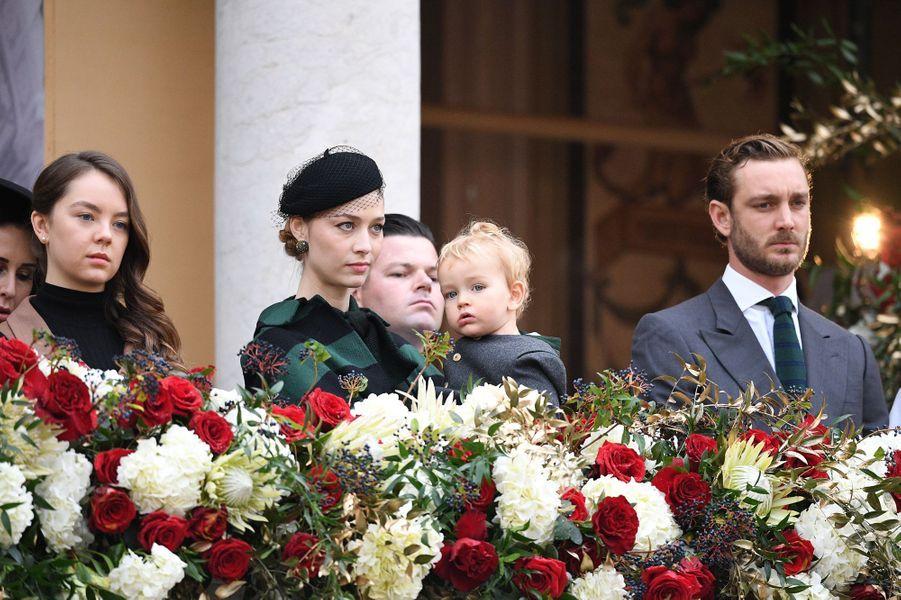 Francesco dans les bras de sa mère Beatrice Borromeo-Casiraghi à Monaco, le 19 novembre 2019