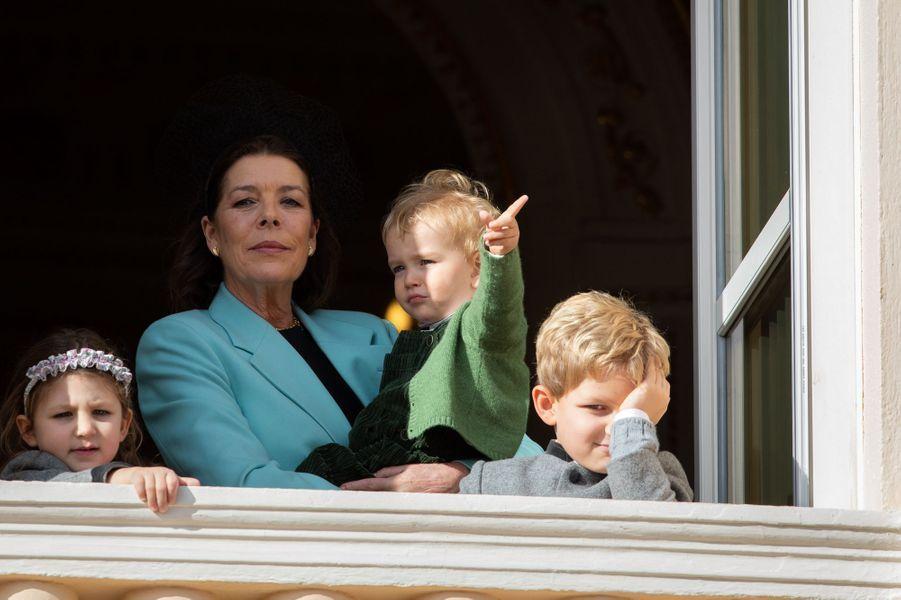 La princesse Caroline de Hanovre avec India, Sacha et Francesco Casiraghi à Monaco, le 19 novembre 2019