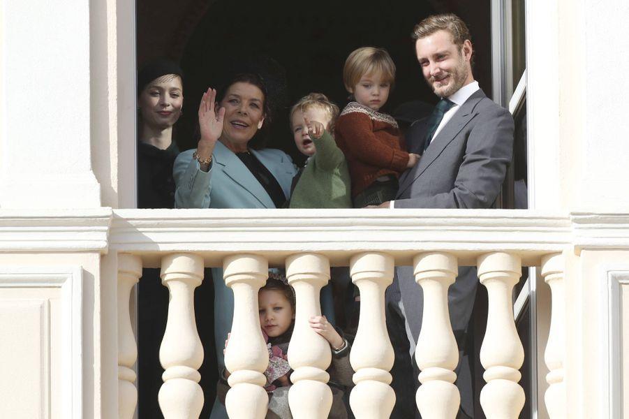 La princesse Caroline de Hanovre avec Pierre Casiraghi et Beatrice Borromeo et deux leurs fils à Monaco, le 19 novembre 2019