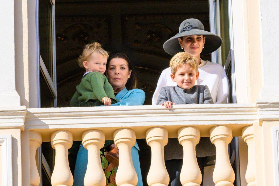 La princesse Caroline de Hanovre, sa belle-fille Tatiana Santo-Domingo et Francesco et Sacha Casiraghi à Monaco, le 19 novembre 2019