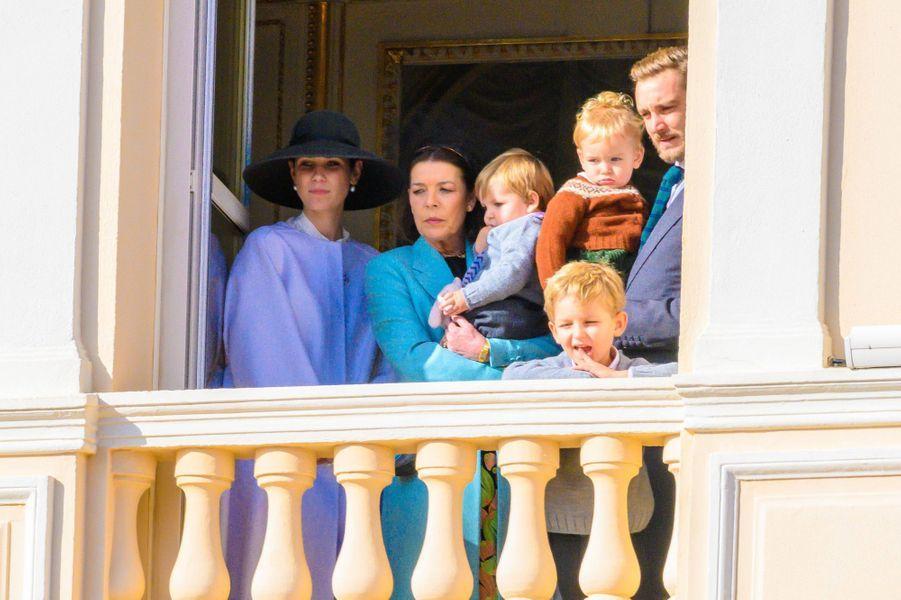 La princesse Caroline de Hanovre, Pierre Casiraghi, Tatiana Santo-Domingo avec Sacha, Maximilian et Francesco Casiraghi à Monaco, le 19 novembre 2019