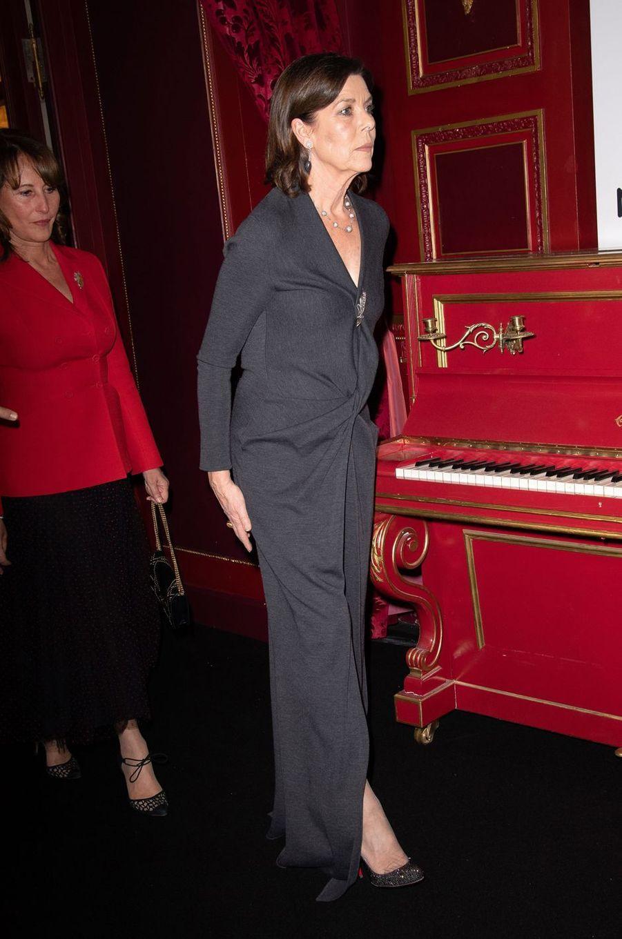 La princesse Caroline de Monaco suivie de Ségolène Royal à Paris, le 24 janvier 2019