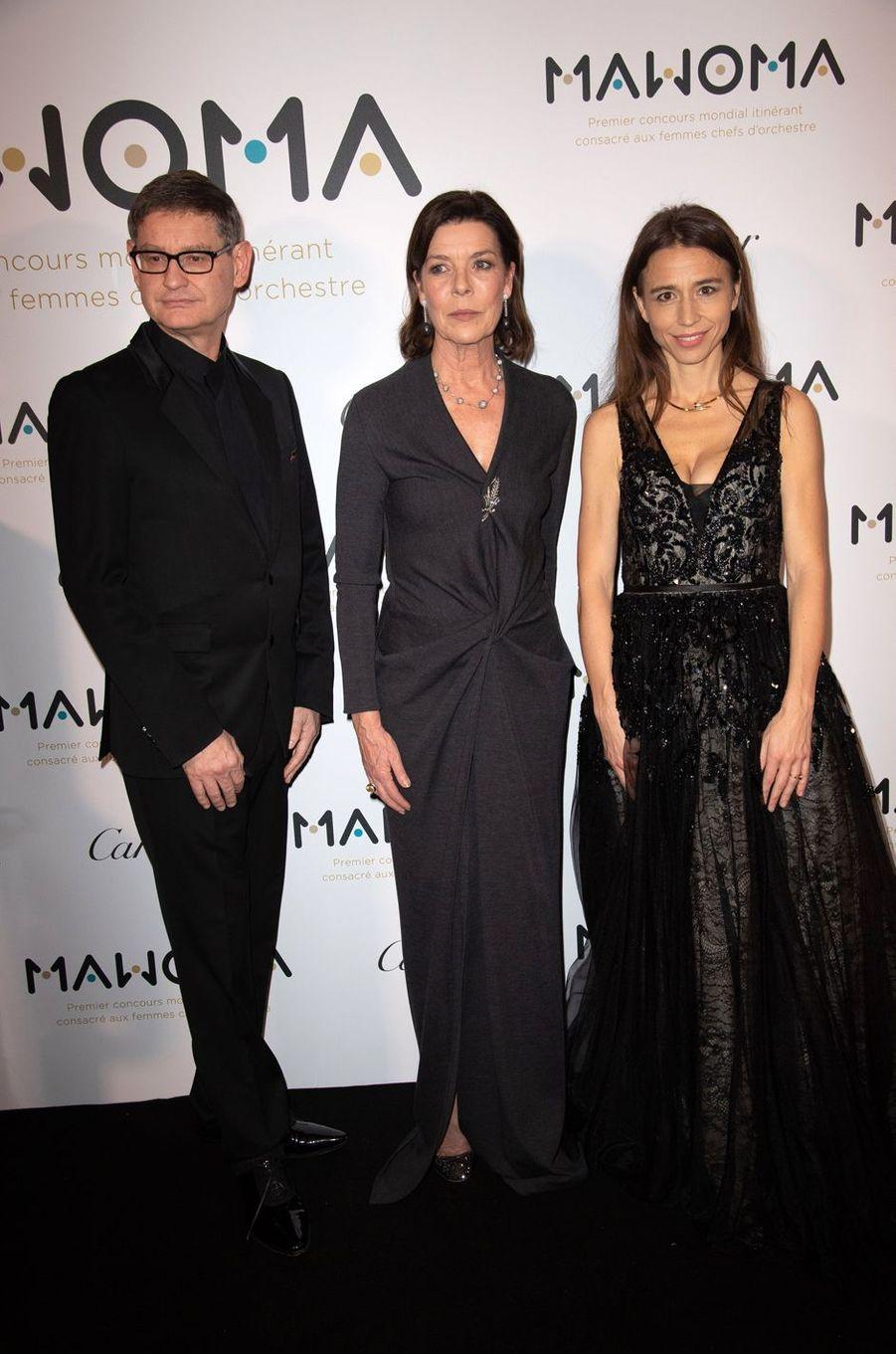 La princesse Caroline de Monaco avec Cyrille Vigneron, CEO de Cartier, et la pianiste Clémence Guerrand, à Paris le 24 janvier 2019