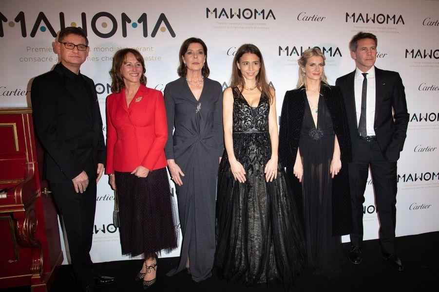 La princesse Caroline de Monaco à Paris le 24 janvier 2019 avec Cyrille Vigneron, Ségolène Royal, Clémence Guerrand, Mélanie Laurent et le prince Emmanuel-Philibert de Savoie