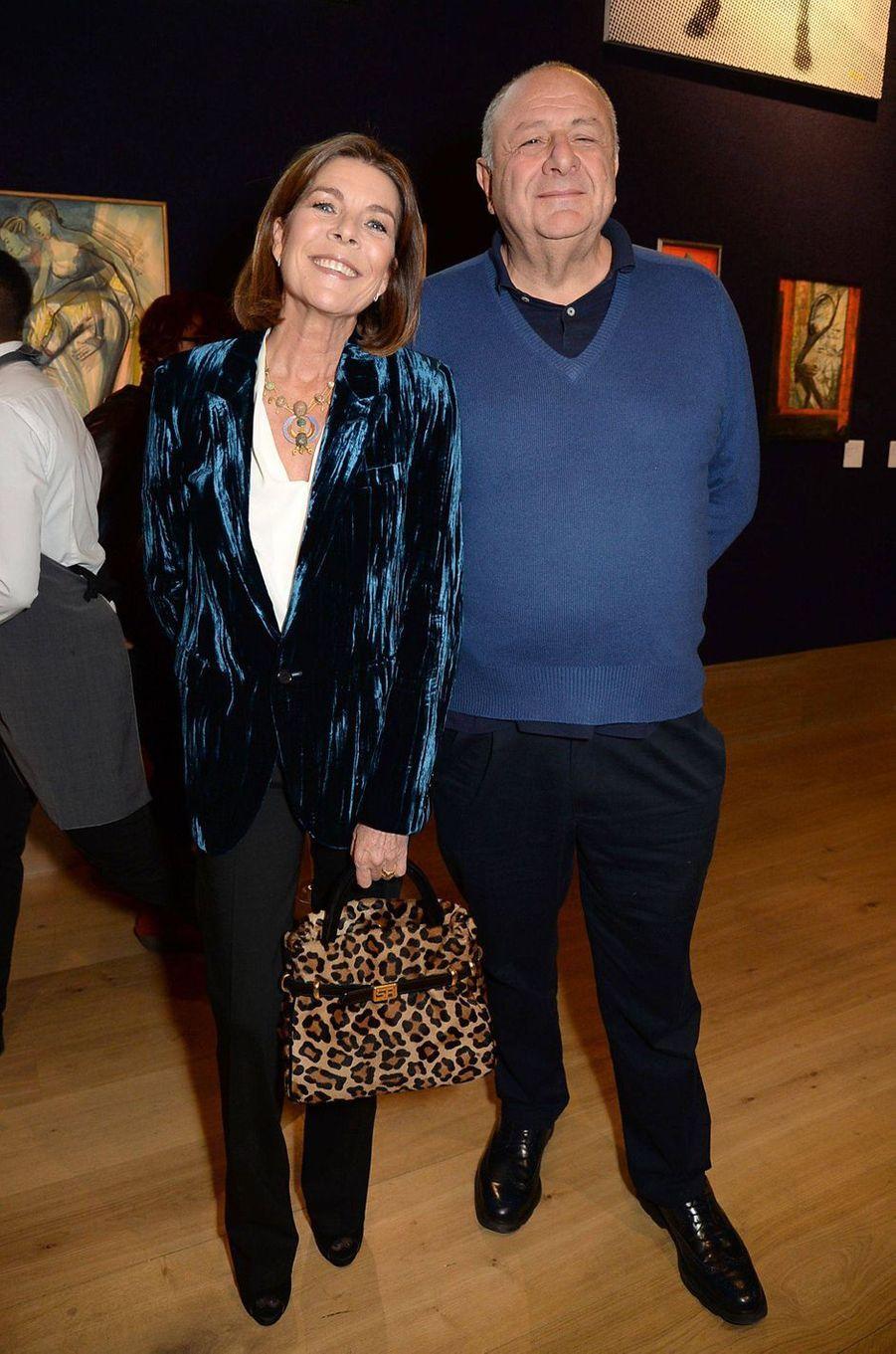 La princesse Caroline de Monaco avec Jean Pigozzi à Londres, le 1er octobre 2018
