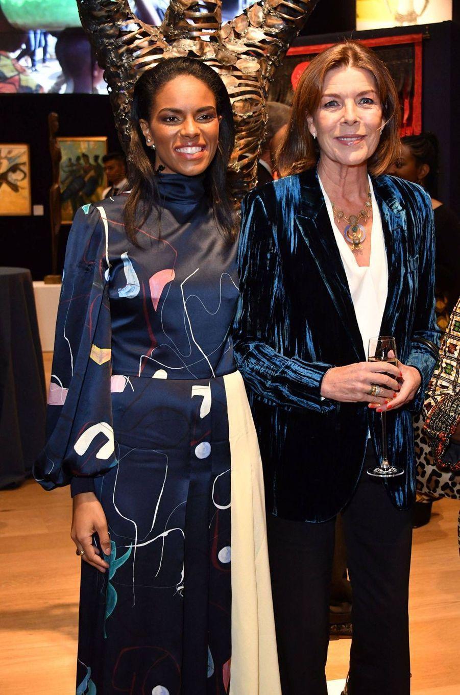 La princesse Caroline de Monaco avec Noëlla Coursaris Musunka à Londres, le 1er octobre 2018