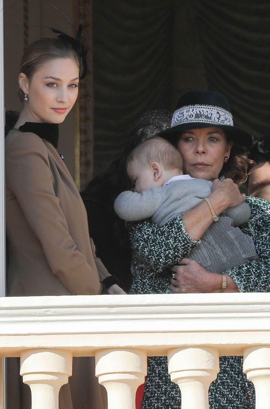 Beatrice Borromeo-Casiraghi, son fils Francesco et la princesse Caroline de Hanovre à Monaco, le 19 novembre 2018