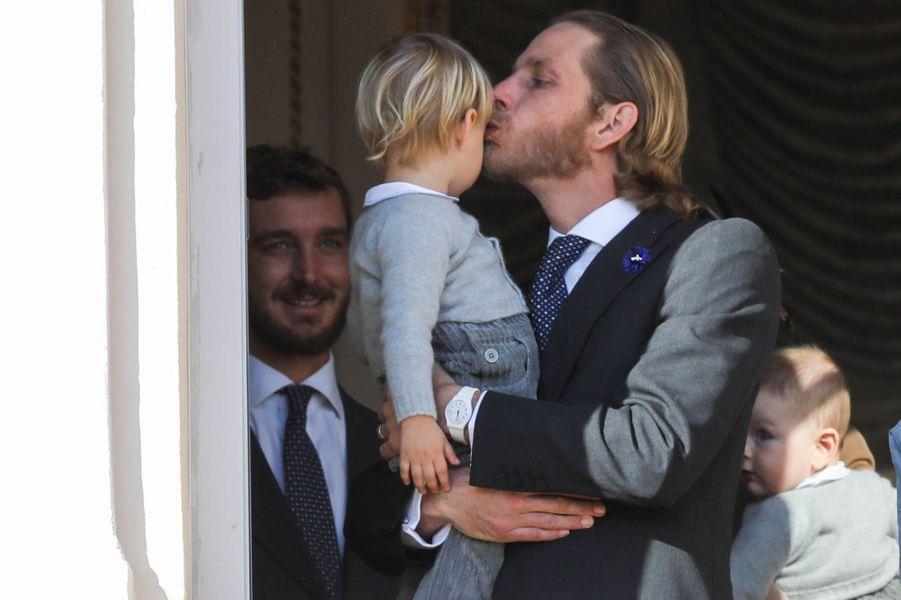 Andrea Casiraghi et son neveu Stefano à Monaco, le 19 novembre 2018