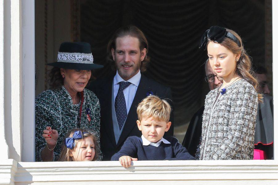 Les princesses Caroline et Alexandra de Hanovre avec Andrea Casiraghi et ses enfants Sacha et India à Monaco, le 19 novembre 2018